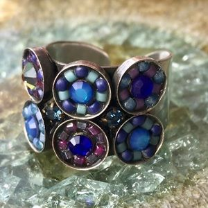 Adjustable Silver crystal + beads Flower ring
